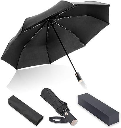Paomosky 折りたたみ傘 自動開閉 108cm 210T高強度グラスファイバー 耐風撥水 軽量 晴雨兼用 収納ポーチ付き (ブラック)