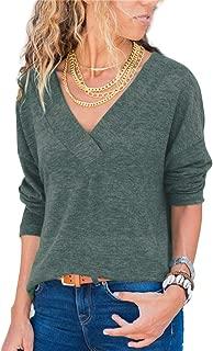 Naivikid Women's Knit Tunic Long Sleeve V-Neck Loose Casual Pullover Tee T-Shirt Tops Green XL