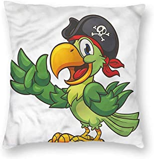 Mannwarehouse Pirate Fashion Pillowcase Cartoon Parrot and Eye Patch Mildew proofW12 x L12