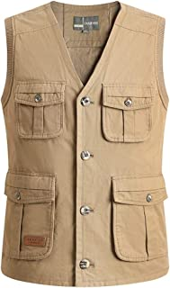 XXT Pocket Vest Cotton Men's Spring and Autumn Thin Section Sports and Leisure Multi-Pocket Vest Practicality (Color : Khaki, Size : 2XL)
