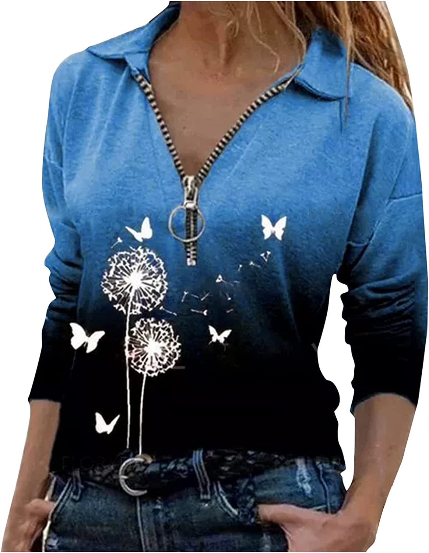Sweatshirts for Women Max 47% OFF Casual Zipper V Dallas Mall B Long Tie Dye Sleeve Neck