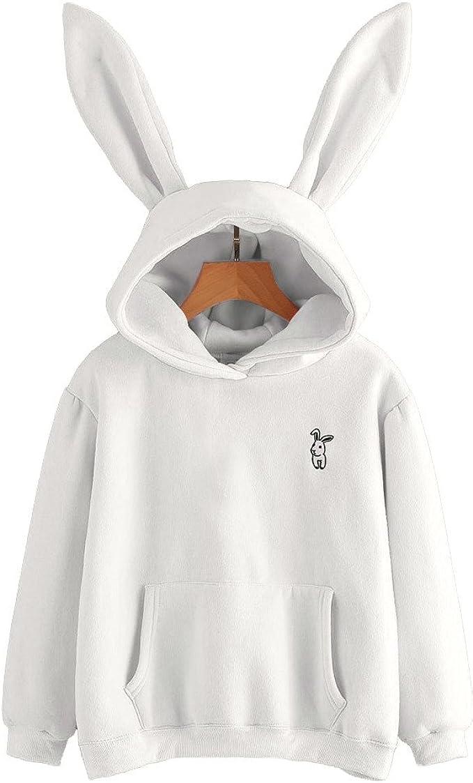 Sudadera con Capucha Conejo Orejas Mujer, Sudadera Estampado Conejo de Manga Larga Blusa Tops Jersey