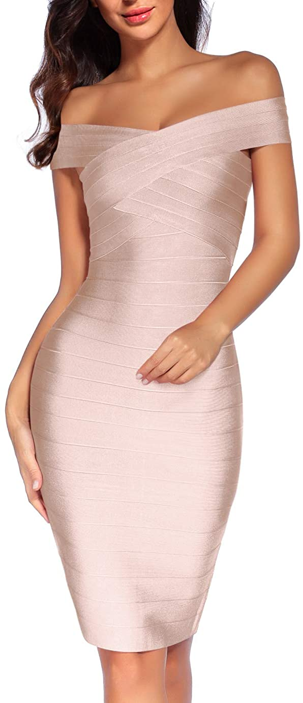 Women's 2021 spring and summer online shop new Bandage Dress Off The Club Shoulder Bodycon Spaghetti Pa