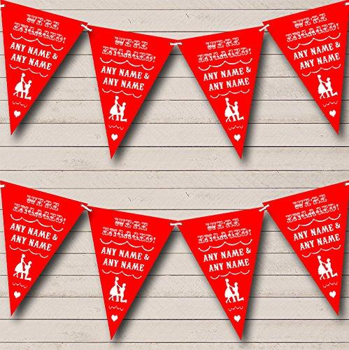 Vintage tekst engagement rood gepersonaliseerd verloving partij Bunting Banner slinger Small