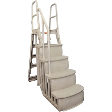 Main Access Smart Step System for 48 to 54 Inch Above Ground Pools, Heavy Duty Four Step Ladder A-Frame; Taupe