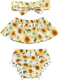 Newborn Infant Toddler Baby Girls Floral Summer Outfits Clothes Cuekondy Sunflower Off Shoulder Tops+Shorts+Headband Set