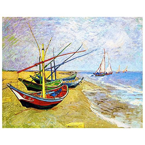 Legendarte Cuadro Lienzo, Impresión Digital - Barcos De Pesca En La Playa De Les Saintes-Maries-De-La-Mer Vincent Van Gogh, cm. 80x100 - Decoración Pared