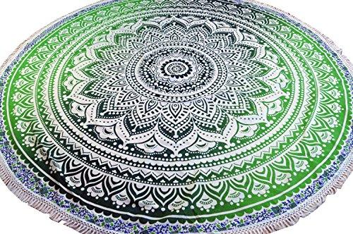 Guru-Shop Mantón Mandala Indio Redondo, Colcha Boho, Manta de Picnic, Manta de Playa, Mantel Redondo - Verde, Algodón, Colchas de Mandala Toallas de Pared