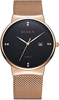 Quartz Watch, Fashionable Couple Large Round Dial Quartz Movement Watch with Adjustable Stainless Steel Mesh Strap