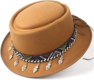 2019 Mens Womens Hats Unisex Men Women Flat Top Hat Autumn Pork Pie Hat with Tassel Ribbon Trilby Hat Porkpie Church Fascinator Travel Casual Hat Lady Flat Hat Adjustable