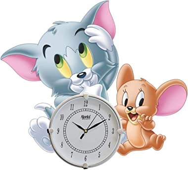 Artistic Angels Wooden Antique Kids Tom and Jerry Wall Clock for Home Kids Room and Living Room (15x15 Inches) (Cartoon Gray