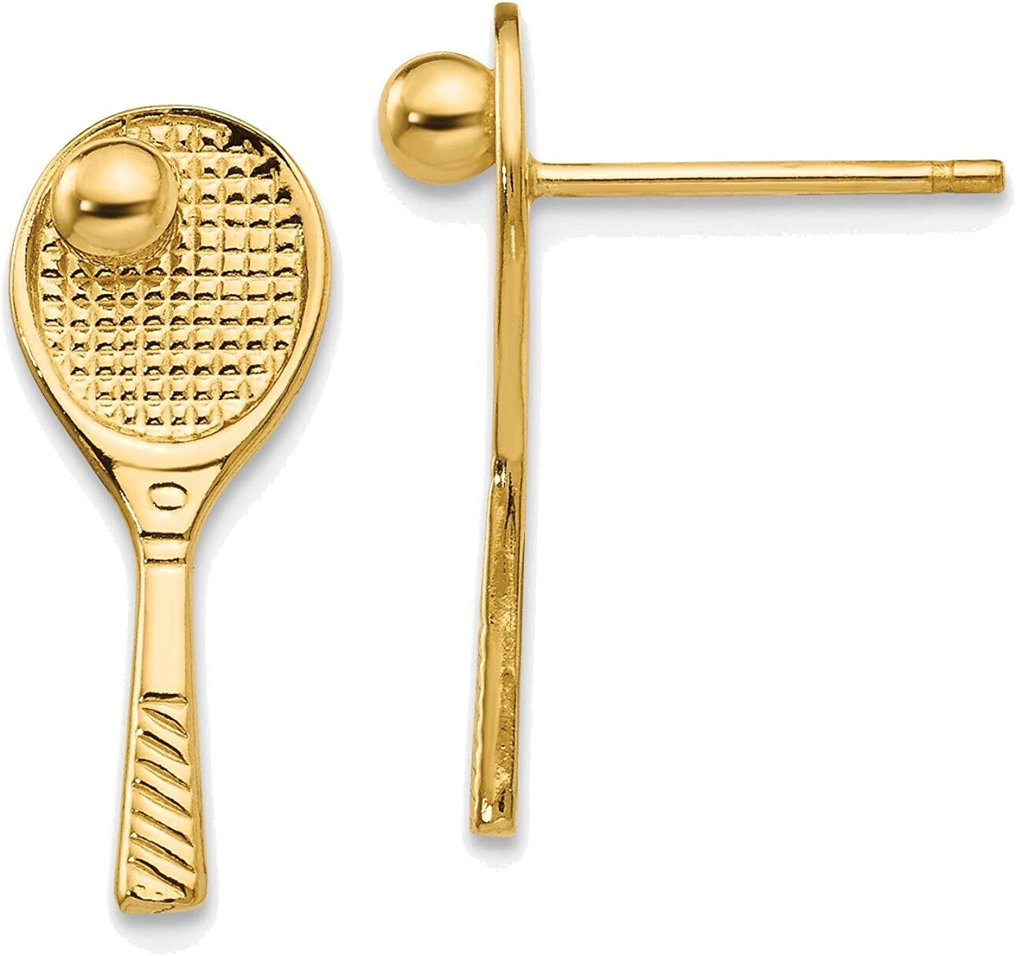 Tennis Racquet with Ball Post Earrings in 14K Yellow Gold