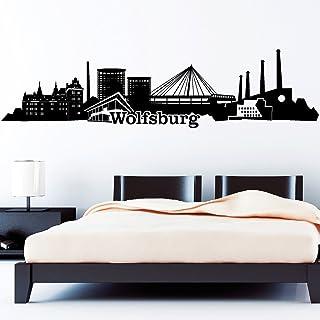 Wandtattoo Loft Skyline Wolfsburg / Niedersachsen / 54 Farben / 2 Größen / schwarz / 55 cm Hoch x 222 cm Breit