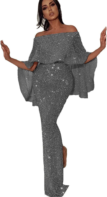 Women's Off Shoulder Satin Bridesmaid Long Slit Max 45% OFF Bac Formal Dress favorite