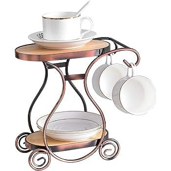 HOWDIA Coffee Mug Holder,Teacup Storage Rack,Drying Display Rack,Coffee Bar Accessory Coffee Cup Holder with 2 Hooks Coffee Cup Holder Countertop Organizer for Kitchen, Counter (Style B)