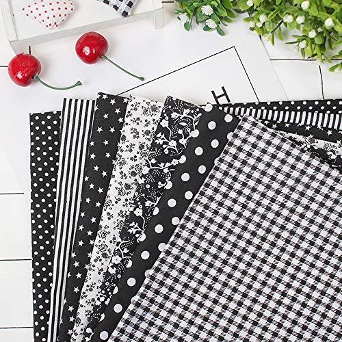 7 piezas de 50 * 100 cm tela de 100% Algodón utilizada para la decoración de costura artesanal telas patchwork DIY. (negro 3)