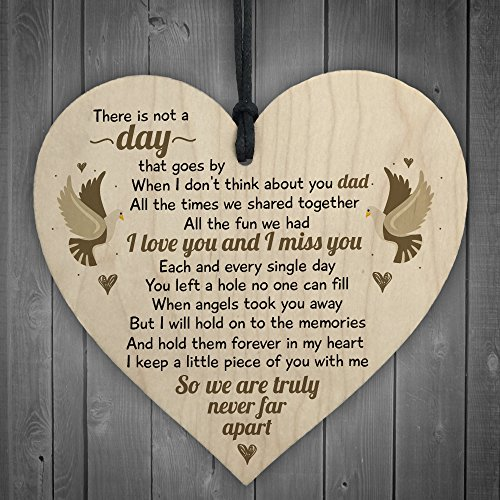 RED OCEAN I Miss You Home Grave Garden Memorial Wooden Heart In Memory Dad Rememberance Plaque Gifts