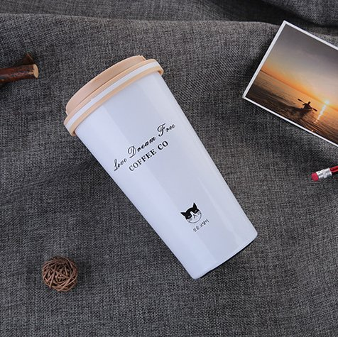 Thermos in Acciaio Inox - Tazza da Caffè / Tè Viaggio Termico Bottiglia con Gatto Vacuum Portatile Senza bpa da Pingenaneer, 500 ml (Beige)