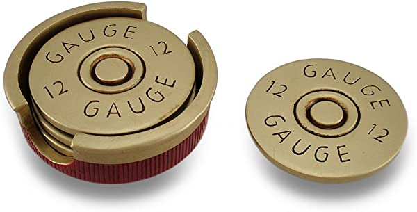 Four Piece 12 Gauge Shotgun Shell Coaster Set W Base
