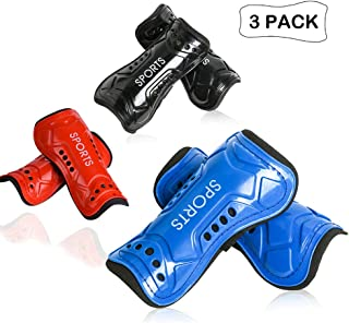 cGy 3 Pairs Youth Soccer Shin Guards, Kids Soccer Shin Pads, Various Styles of Breathable and Lightweight Child Calf Protective Gear Soccer Equipment for 3-15 Years Old Boys Girls Teenagers Kids