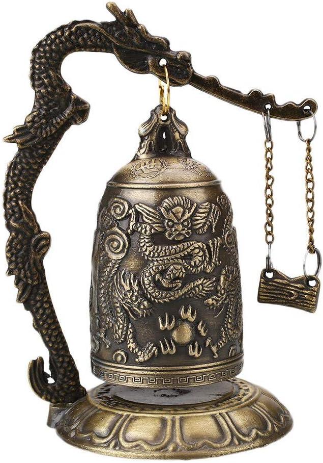 Moonlight Star Tallado Antiguo dragón Campana antigüedades asiáticas Cobre latón Buddha Buddhism Arts Estatua Reloj latón (Color : Style A)