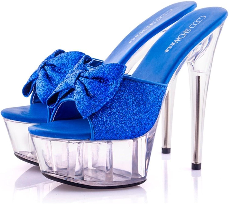 Damenschuhe - Sexy Super High Heels 15cm Sommer Coole Sandalen Transparent Pailletten Mode Kristall Schuhe (Farbe   Blau, gre   39-schuhe long245mm)