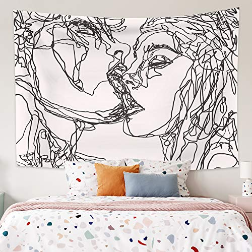 Yongto 59.1x51.2 Inches Women and Men Kissing Tapestry Abstract Sketch Art Kiss Lovers Tapestry Wall Decor Black and White Tapestry for Bedroom Living Room Decor