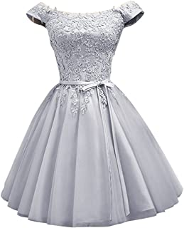 LanierWedding Short Homecoming Dresses Cap Sleeves Satin Lace Up Prom Dresses for Party, Bridesmaid