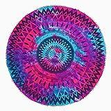 TEXTIL TARRAGO Toalla Pareo redondo 180 cm diametro 100% algodón con Pom-pom laces mandala