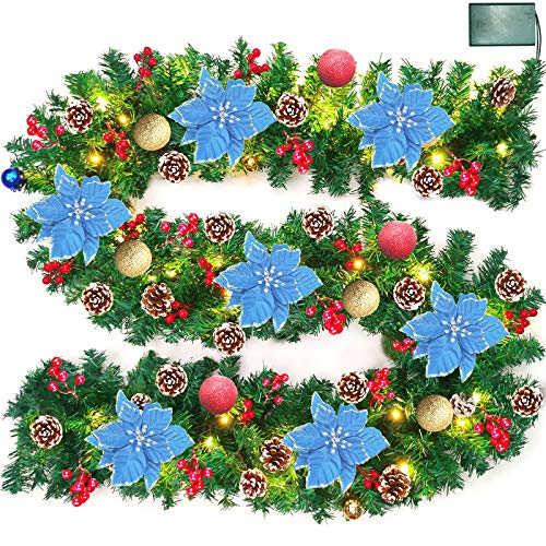 Camlinbo 9 Foot Prelit Christmas Poinsettia Garland with 50 Lights,Battery Operate Lighted Xmas Garland with Ball Ornament Gold Red Berry Pine Garland Xmas Holiday Decoration Indoor Mantle, Warm White