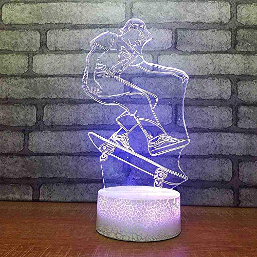 7 kleuren Night Light LED skateboard boy model tafellamp Kids Touch Button 3D USB Sleep Fixture Home Decor