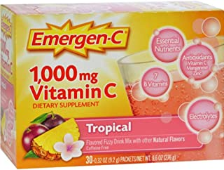 Emergen-C Vitamin C Fizzy Drink Mix, 1000 mg, Tropical, 0.3-Ounce Packets (Pack of 30)