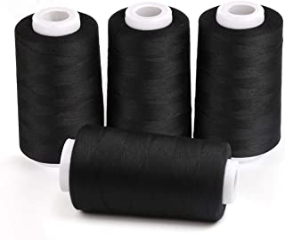 ilauke 4 x 3000 Yards Serger Thread Spools Black Polyester Sewing Threads Overlock Cone
