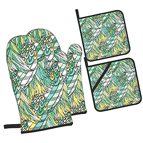 YOLIKA Hand Drawn With Boho Colorful Green Feathers,4Pcs Oven Mitts and Pot Holders Sets,High Heat Resistant Kitchen Oven Gloves with Non-Slip Hot Pads for Cooking,Baking,Grilling