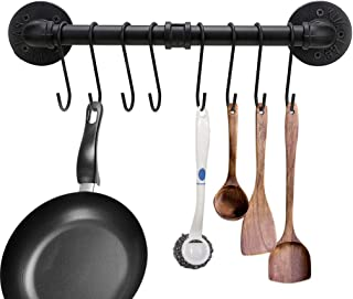 Sumnacon 16 Inch Industrial Pipe Pan Pot Rack with 8-Hooks, Wall Mounted Metal Rail Kitchen Utensil Pot Pan Lid Storage Organizer/Cookware Holder with Hardwares