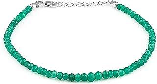 Pulsera de abalorios Piedra preciosa Onyx verde Joyas con cuentas Regalo para su mamá, Regalo de aniversario para novia, Regalo de Navidad, Pulsera Boho