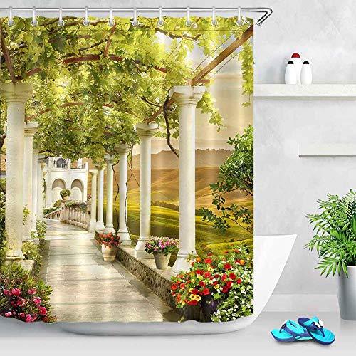N / A Fleur et Maison Rue Gongshi Rue numérique Paysage Rideau de Douche Baignoire décoration Salle de Bain Rideau décoration de la Maison imperméable et Anti-moisissure Rideau de Douche A7 180x200cm