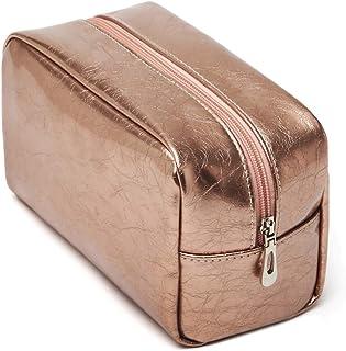 Makeup Bag, BuyAgain PU Cosmetic Bag Organizer for Women Girl Travel Rose Gold