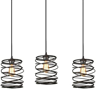 Track Lighting Pendants 3-Pack, Island Edison Hanging Lights Height Customizable, Kitchen Light Ceiling Pendant Fixtures, Modern Industrial Vintage Lamp,Bulb Included