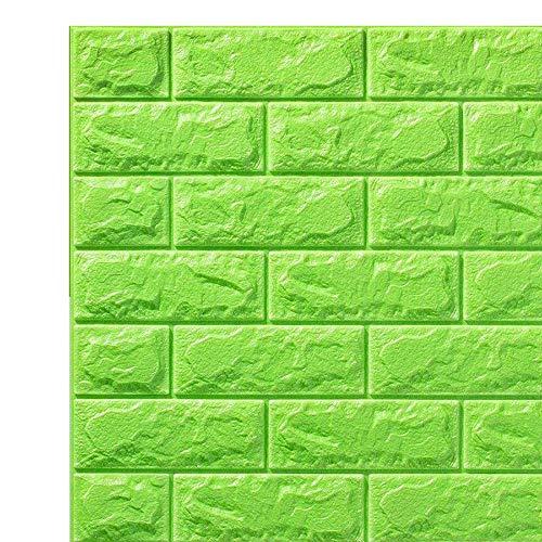 3D Wandpaneele Self-Adhesive Wasserdichte PE-Schaum Tapete, für Wohnzimmer Schlafzimmer Hintergrund Wanddekoration (10 Stück, 4 Farben, 58 Sq Feet),Grün