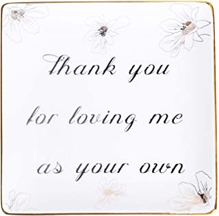 Autoark Ceramic Ring Trinket Dish - Thank you for loving me as your own,Jewelry Tray,Gift for Mother in Law Stepmother Mo...