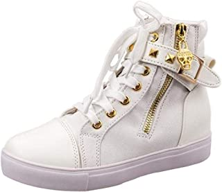 VonVonCo Fashion High-Top Solid Color Zip Sneakers Shoes Flat Canvas Women Shoes