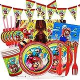 Yisscen Juego de fiesta de cumpleaños 82 piezas Juego de fiesta Super Mario Platos Tazas ...