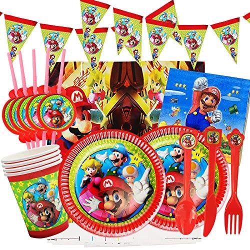 Yisscen Juego de fiesta de cumpleaños 82 piezas Juego de fiesta Super Mario Platos Tazas Servilletas Cubiertos Banner Mantel Vajilla de cumpleaños Kit de decoración, para niños Fiesta de cumpleaños