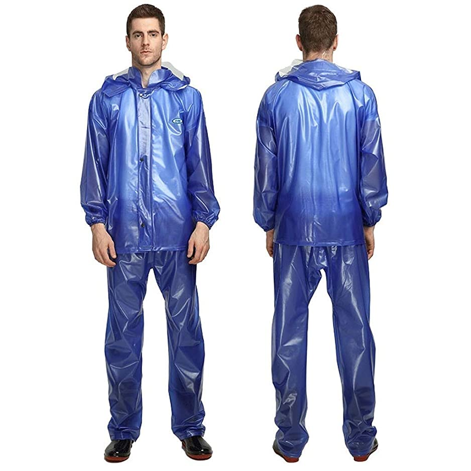 慣れている反応するインフラHdhxt-防水レインコートセット 大人の雨のスーツの男性と女性のレインコートパンツ防水レインコートセット、屋外セーリングレインウェアーに適した レインウェア/メンズレインウェア (Color : Blue, Size : L)