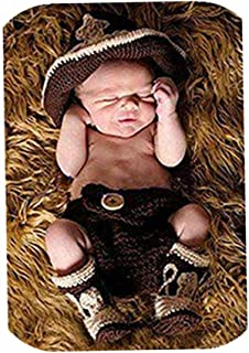Vemonllas Fashion Newborn Baby Boy Girl Outfits Photography Props Cowboy Hat Shorts Boots Brown