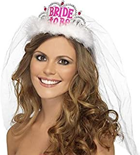 Hosaire Bride To Be Tiara with Veil Bride Crown Hen Night Party Bachelorette Party Bridal Shower Decor White