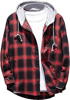 Lavnis Men's Plaid Hooded Shirts Casual Long Sleeve Lightweight Shirt Jackets