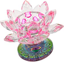 Fenteer 7 Colors Crystal Lotus Flower Tealight Candle Centerpieces for Home Wedding Votive Birthday Party Decor - Pink, as...