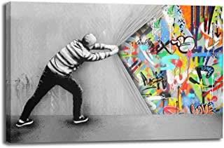 Street Art Banksy Behind The Curtain Graffiti Street Art Wall Artworks Print On Canvas Home Decor for Living Room Office Bedroom (Curtain, 32x48inch(80x120cm))